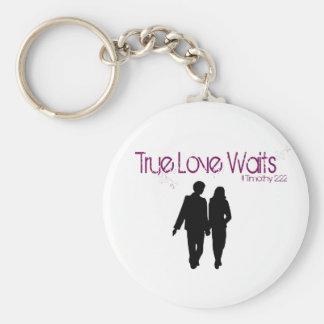Wahre Liebe wartet Keychain Standard Runder Schlüsselanhänger