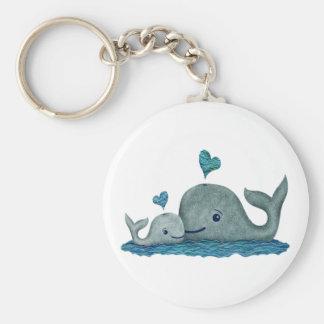 Wal-Mamma-und Baby-Schwimmen im Meer Schlüsselanhänger