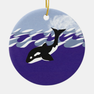 Wal-Schwimmen in der Ozean-wunderlichen Rundes Keramik Ornament
