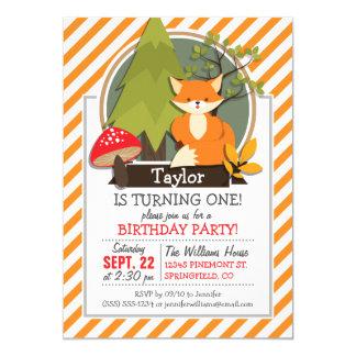 WaldFox; Orange und weiße Streifen 12,7 X 17,8 Cm Einladungskarte