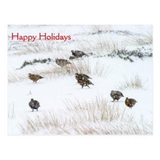 Waldhuhn in der Schnee-frohe Feiertage Postkarte