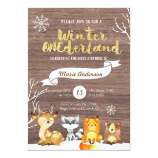 WaldlandONEderland erste Geburtstags-Einladung 12,7 X 17,8 Cm Einladungskarte