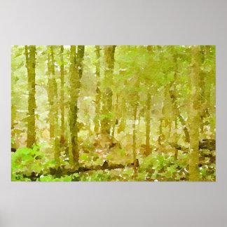 Waldszeneabstrakte Watercolor-Malerei Poster
