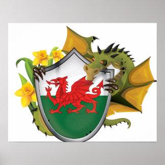 Waliser-Drache-Flagge Poster