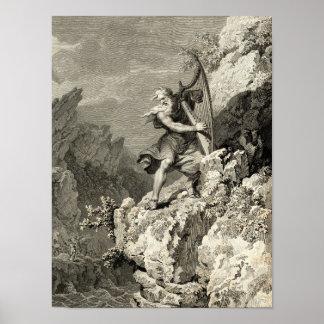 Waliser-Druide, der die Harfe spielt Poster