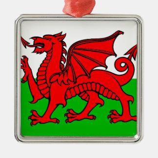 Waliser-Flagge Silbernes Ornament