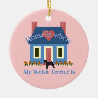 Waliser-Terrier-Zuhause ist Keramik Ornament