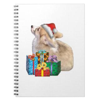Walisercorgi-Welpe mit Weihnachtsmannmütze Spiral Notizblock