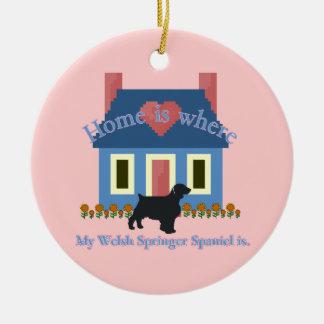 WaliserSpringerspaniel-Zuhause ist Keramik Ornament