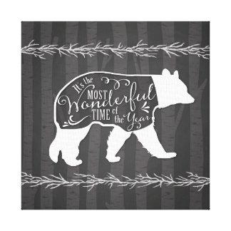 Wand-Kunst-Druck auf Leinwand - Winter-Bär