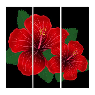 Wand-Kunst-Platte-Roter Hibiskus Triptychon
