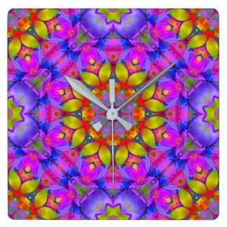 Wand-Uhr-BlumenFraktal-Kunst G445 Quadratische Wanduhr