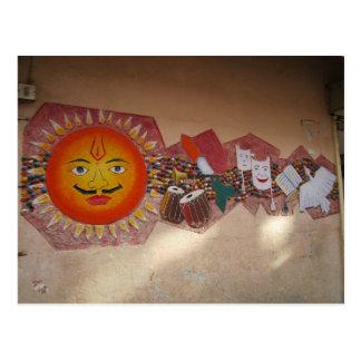 Wandgemälde in ländlichem Indien Postkarte