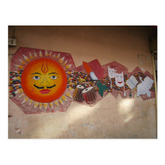 Wandgemälde in ländlichem Indien Postkarten