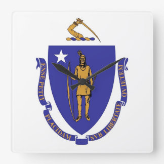 Wanduhr mit Flagge von Massachusetts, USA