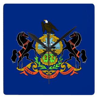 Wanduhr mit Flagge von Pennsylvania, USA