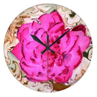 Wanduhr pink Blüte