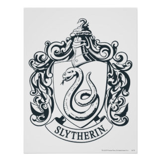 Wappen Harry Potter | Slytherin - Schwarzweiss Poster