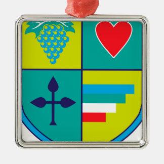 Wappen Trauben und Herzschild Quadratisches Silberfarbenes Ornament