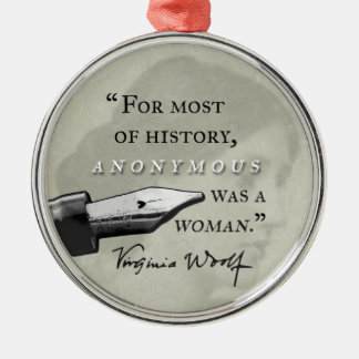 War ein Zitat Frau ~ Virginias Woolf circl anonym Silbernes Ornament