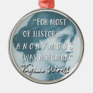 War ein Zitatblau Frau ~ Virginias Woolf anonym Silbernes Ornament