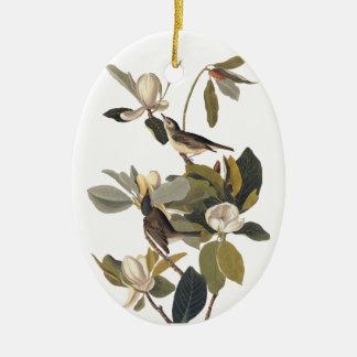 Warbling FlycatcherKingbirds Vintages Audubon Art. Ovales Keramik Ornament