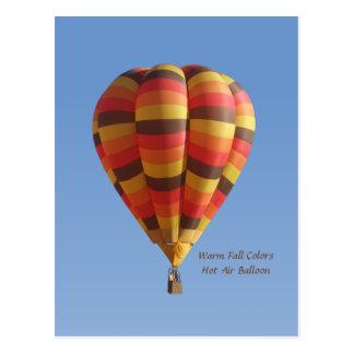 Warmer Herbstfarben-Heißluft-Ballon Postkarte