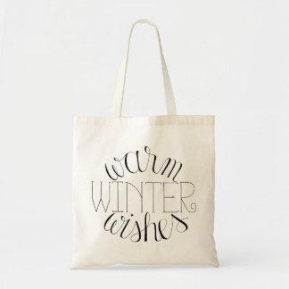Warmer Winter wünscht Hand beschriftete Tragetasche