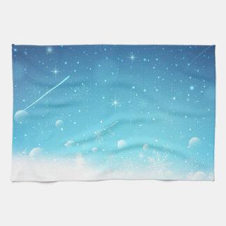 Warmes Winter-Märchenland mit Schneeflocken Handtuch