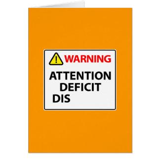 Warnung - Aufmerksamkeitsstörung Mitteilungskarte