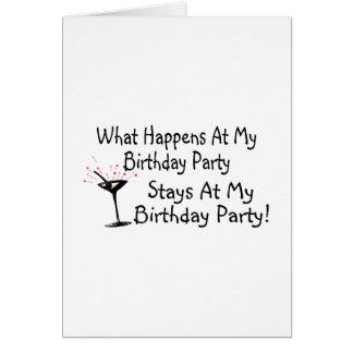 Was an meinen Geburtstags-Party-Aufenthalten bei Karte