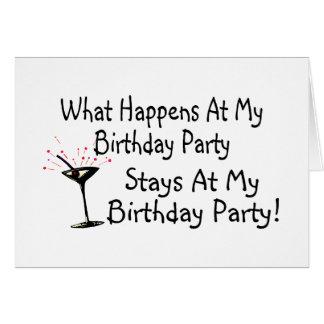 Was an meinen Geburtstags-Party-Aufenthalten bei m Karten