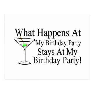 Was an meinen Geburtstags-Party-Aufenthalten bei Postkarte