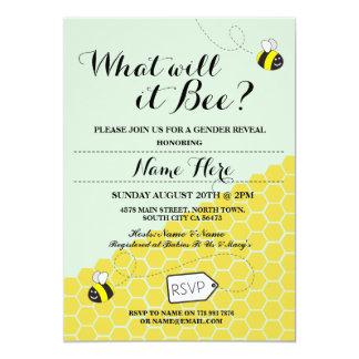 Was wird es Biene? Honig-Baby-Duschen-Party laden 12,7 X 17,8 Cm Einladungskarte