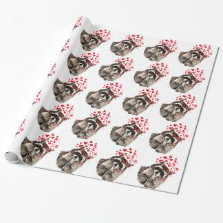 Waschbär-durchbrennenkuss-Aquarell Einpackpapier