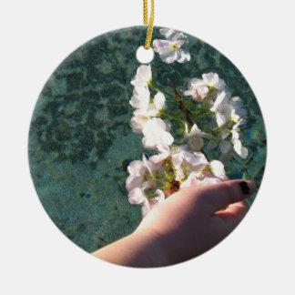 Wasser-Blüten Rundes Keramik Ornament