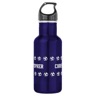 Wasser-Flasche, personalisiert, Fußball, blau Trinkflasche