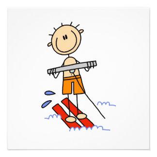 Wasser-Skifahren-Strichmännchen Individuelle Einladungskarte