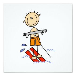 Wasser-Skifahren-Strichmännchen Quadratische 13,3 Cm Einladungskarte