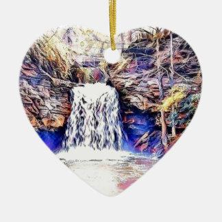 Wasserfall-Farbmalerei Keramik Herz-Ornament