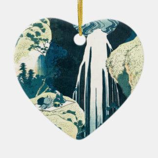 Wasserfall Keramik Herz-Ornament
