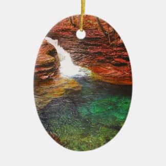 Wasserfall Ovales Keramik Ornament