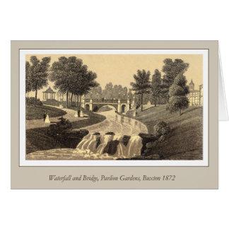Wasserfall und Brücke, Pavillon-Gärten, Buxton Karte