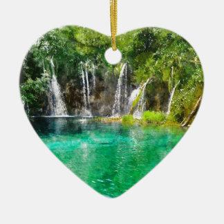 Wasserfälle an Plitvice Nationalpark in Kroatien Keramik Herz-Ornament