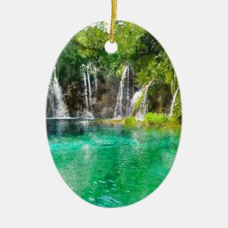 Wasserfälle an Plitvice Nationalpark in Kroatien Ovales Keramik Ornament
