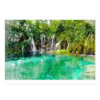 Wasserfälle an Plitvice Nationalpark in Kroatien Postkarte
