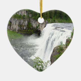 Wasserfälle Keramik Herz-Ornament