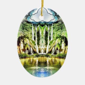 Wasserfälle von der Wolke Ovales Keramik Ornament
