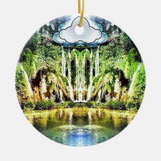 Wasserfälle von der Wolke Rundes Keramik Ornament