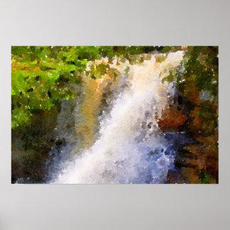 Wasserfallwatercolor-abstrakte Malerei Poster